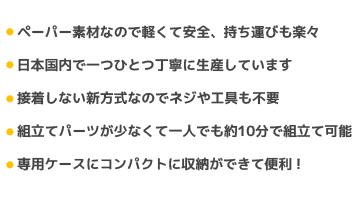 ペーパー素材なので軽くて安全、持ち運びも楽々/日本国内で一つひとつ丁寧に生産しています/接着しない新方式なのでネジや工具も不要/組立てパーツが少なくて一人でも約10分で組立て可能/専用ケースにコンパクトに収納ができて便利!